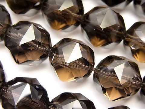 Diamond Cut! Smoky Crystal Quartz AAA Star Faceted Round 14 mm 1/4 or 1strand (aprx.15 inch / 37 cm)