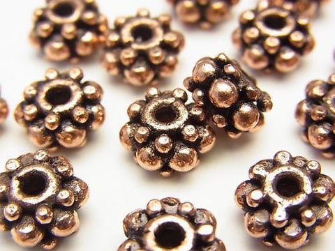 Copper  Roundel 9x9x5mm Oxidized Finish  half or 1strand (aprx.7inch/18cm)