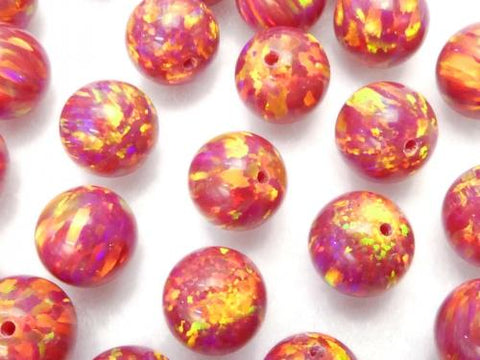 Kyoto Opal Round 8 mm [Red] Half Drilled Hole 1pc $7.79!