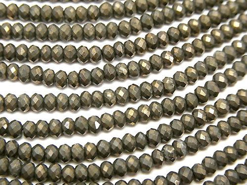 Diamond Cut!  1strand $14.99! High Quality Pyrite AAA Faceted Button Roundel 2.5x2.5x1.5mm 1strand (aprx.12inch/30cm)