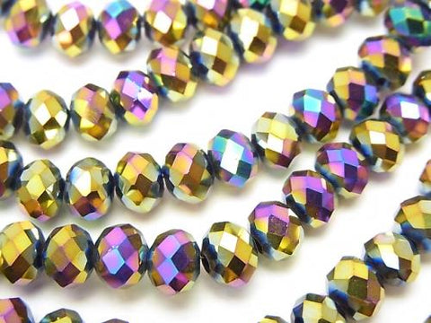 1strand $2.39! Glass Beads  Faceted Button Roundel 6 x 6 x 4 mm metallic coating 1 strand (aprx.18 inch / 44 cm)