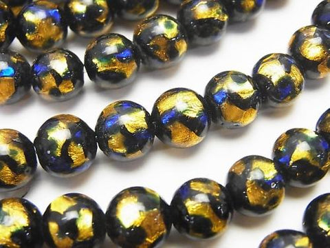 Lampwork Beads Round 8mm [Yellow x Blue] 1/4 or strand (aprx.15inch / 36cm)