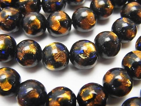 Lampwork Beads Round 8mm [Orange x Blue] 1/4 or strand (aprx.15inch / 36cm)