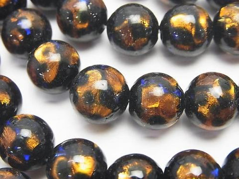 Lampwork Beads Round 10mm [Orange x Blue] 1/4 or strand (aprx.15inch / 36cm)