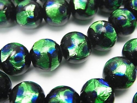 Lampwork Beads Round 10mm [Green x Blue] 1/4 or strand (aprx.15inch / 36cm)
