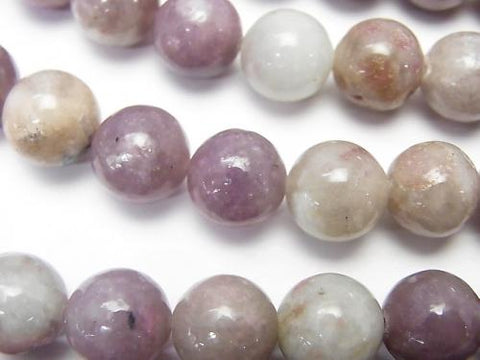1strand $9.79! Lepidolite with Pink Tourmaline Round 10mm 1strand (aprx.15inch / 37cm)