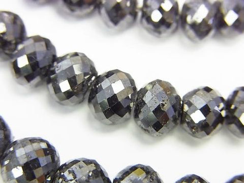 [1 mm hole] Black Diamond AAA Faceted Button Roundel 7 - 8 mm 3pcs $597.99!