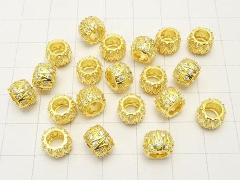 Metal Parts Roundel (Tube) 8 x 8 x 6 mm Gold Color w / CZ 2 pcs $3.79!