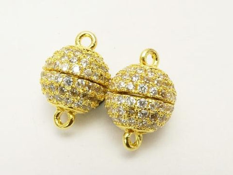 Metal Part Magnetic Clasp Round 8mm, 10mm Gold Color (with CZ) 1pc $4.39