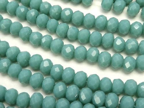 1strand $1.79! Glass Beads  Faceted Button Roundel 4 x 4 x 3 mm Blue Green 1strand (aprx.19 inch / 46 cm)