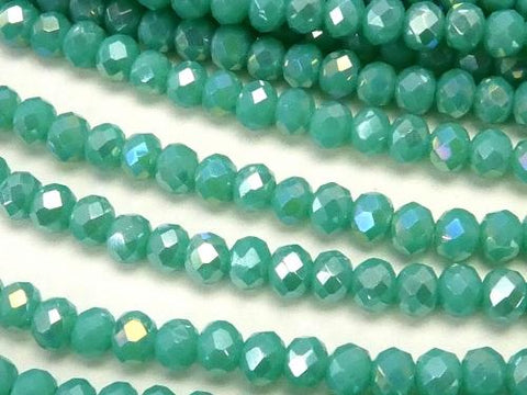 1strand $1.79! Glass Beads  Faceted Button Roundel 3 x 3 x 2 mm Blue Green NO.3 AB 1 strand (aprx.15 inch / 38 cm)