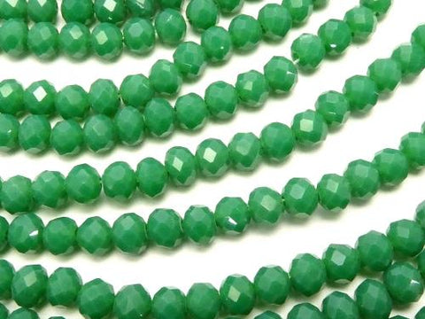 1strand $1.79! Glass Beads  Faceted Button Roundel 4 x 4 x 3 mm Green 1strand (aprx.19 inch / 47 cm)