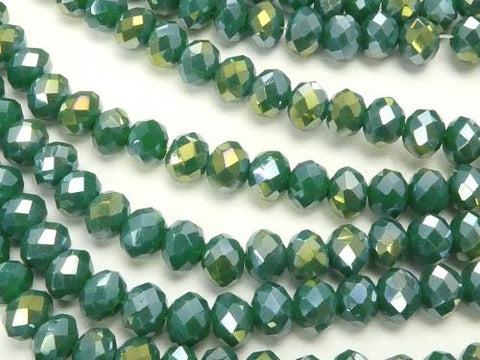 1strand $1.79! Glass Beads  Faceted Button Roundel 4 x 4 x 3 mm Green AB 1 strand (aprx.18 inch / 44 cm)