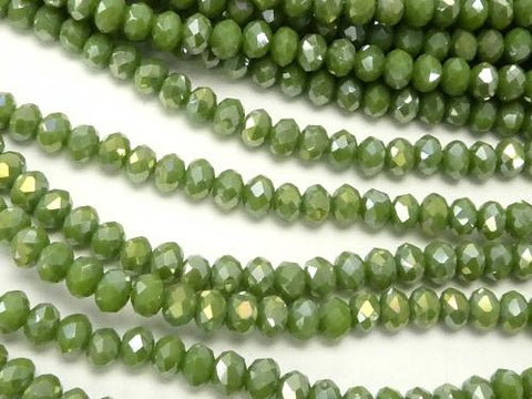 1strand $1.79! Glass Beads Faceted Button Roundel 3x3x3mm Olive Green AB 1strand (aprx.14inch / 34cm)