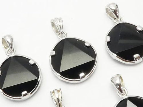 Tektite AAA Star pattern Faceted Pendant 15-16 mm Silver 925