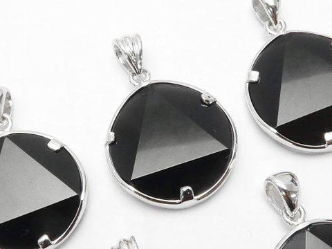 Tektite AAA Star pattern Faceted Pendant 19 - 20 mm Silver 925