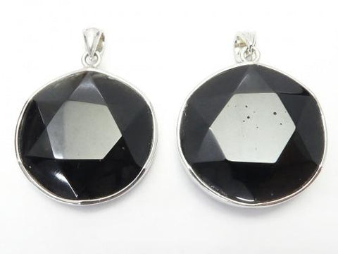 Tektite AAA Star pattern Faceted Pendant (single side unpolished) 25 mm Silver 925