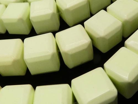 Lemon Chrysoprase AA ++ Cube Shape 12 x 12 x 12 mm half or 1 strand (aprx.15 inch / 38 cm)
