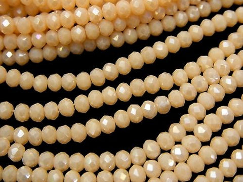 1strand $1.79! Glass Beads  Faceted Button Roundel 3 x 3 x 2 mm Orange Beige AB 1 strand (aprx.15 inch / 38 cm)