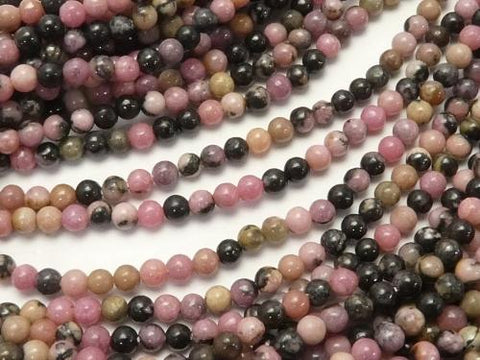1strand $3.79! Black patterned Rhodonite Round 2mm 1strand (aprx.15inch / 38cm)