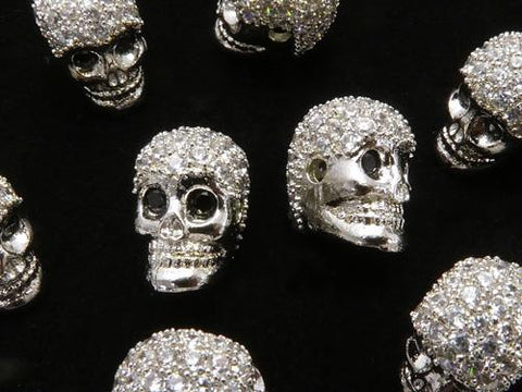 Metal Parts skull 9.5 x 7 x 9 mm silver color (with CZ) 2 pcs $3.79!