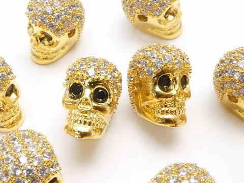 Metal Parts skull 9.5 x 7 x 9 mm gold color (with CZ) 2 pcs $3.79!