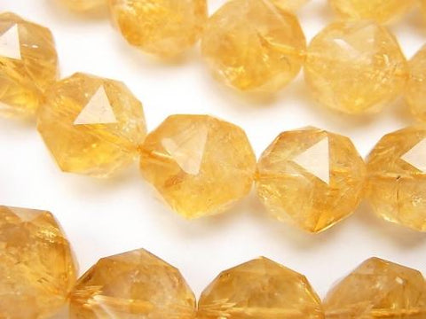 Diamond Cut! Citrine AAA - AA ++ Star Faceted Round 14 mm 1/4 or 1strand (aprx.15 inch / 36 cm)