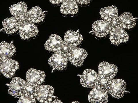 Metal Parts Joint parts Clover 15 x 12 mm Silver color (with CZ) 1 pc $2.59