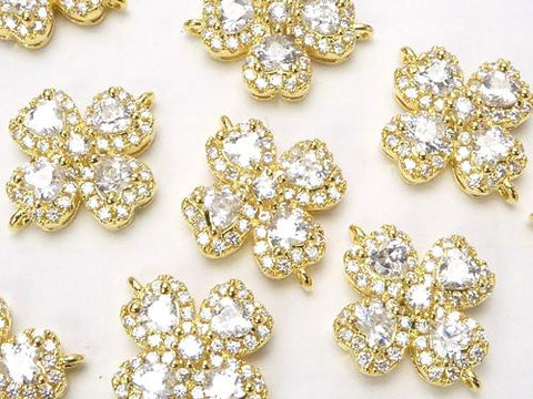 Metal Part Joint Part Clover 15 x 12 mm Gold Color (with CZ) 1 pc $2.59!