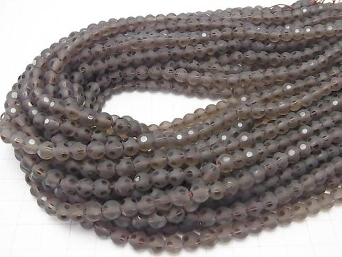 Smoky Crystal Quartz polka dot Faceted Round 6mm half or 1strand (aprx.15inch / 37cm)