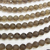 Smoky Crystal Quartz polka dot Faceted Round 10 mm half or 1 strand (aprx.15 inch / 37 cm)