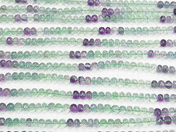 [Video] MicroCut Top Quality Multicolor Fluorite AAA Faceted Button Roundel half or 1strand (aprx.15inch / 38cm)