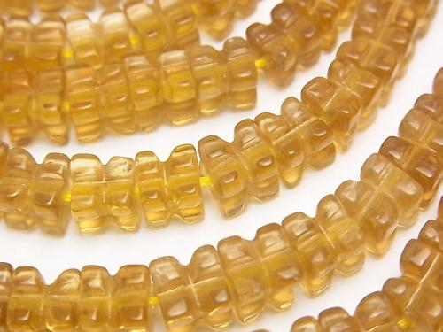 Golden Fluorite AAA - engraved Cube 6 x 6 x 6 mm half or 1 strand (aprx.15 inch / 38 cm)