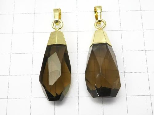1pc $5.79! Smoky Crystal Quartz AA ++ Faceted Nugget Pendant [Medium] Gold 1 pc
