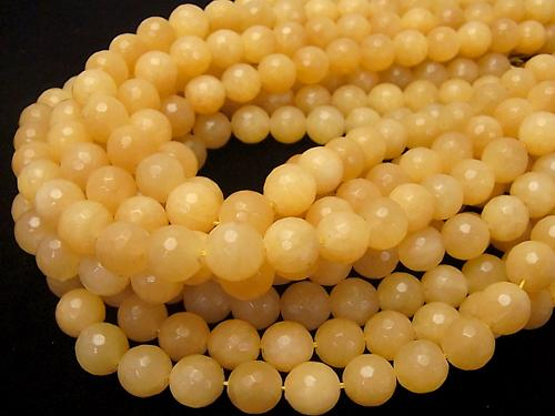 Yellow Jade 128 Faceted Round 12 mm half or 1 strand (aprx. 15 inch / 37 cm)