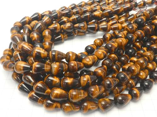 1strand $9.79! Yellow Tiger Eye AAA - Vertical Hole Drop (Smooth) 14x10x10 1strand (aprx.15inch / 36cm)