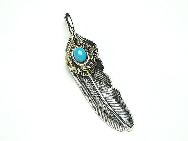 Feather with Silver 925 Turquoise Pendant 46 x 11 x 8 mm 1 pc $19.99!
