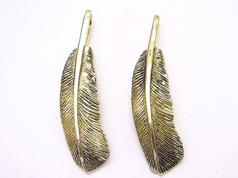 Brass feather Pendant 48 x 11 x 2 mm 1 pc $8.79!