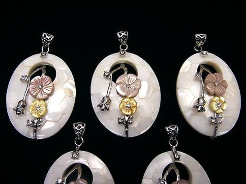White color mosaic with flowers Shell Oval Pendant 1pc