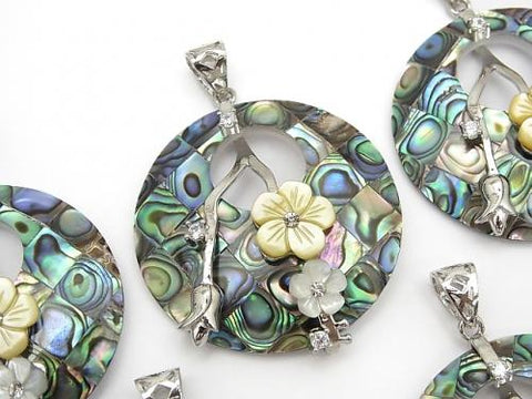 Mosaic with flowers Shell Coin Pendant Abalone Shell 1pc