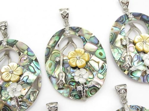 Mosaic with flowers Shell Oval Pendant Abalone Shell 1pc