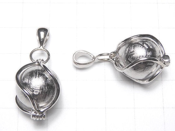 Meteorite (Muonionalusta) Pendant Silver 925 with 15 mm ball