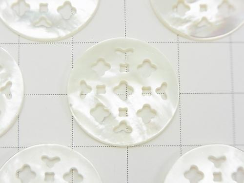 1pc $6.79! High Quality White Shell Watermark Coin 20x20x2mm Flower Design 1pc