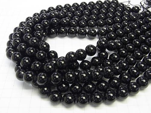Black Tourmaline AAA - Round 12 mm half or 1 strand (aprx.15 inch / 38 cm)