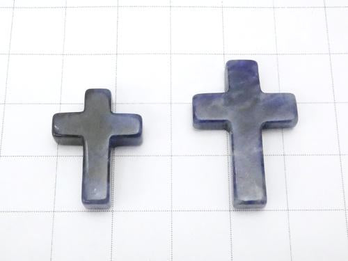 1pc $2.19 Sodalite Cross [20 x 15] [25 x 18] (Half Drilled Hole) 1 pc