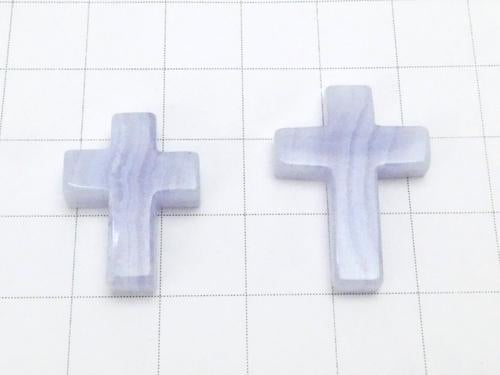 1pc $3.79 Blue Lace Agate AAA Cross [20 x 15] [25 x 18] (Half Drilled Hole) 1 pc