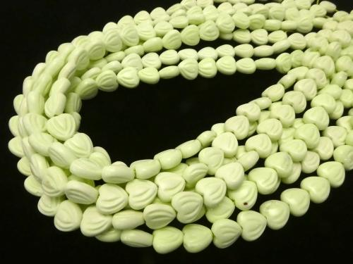 Lemon Chrysoprase AA ++ Engraved with Vertical Hole Heart 10 x 10 x 5 mm half or 1 strand (aprx.15 inch / 38 cm)