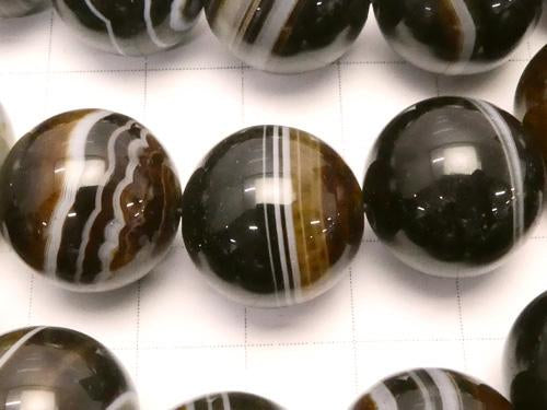 Brown stripe agate AAA Round 16 mm half or 1 strand (aprx. 14 inch / 35 cm)