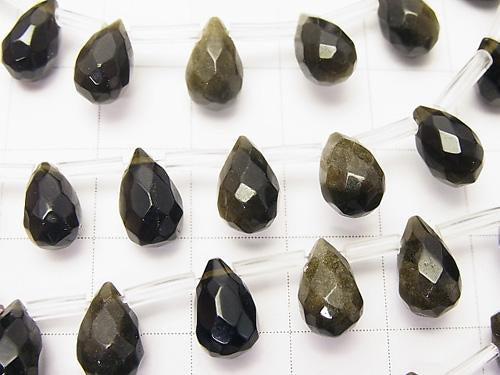 Golden Shine Obsidian Drop Faceted Briolette 10 x 6 x 6 mm half or 1 strand (aprx.15 inch / 38 cm)