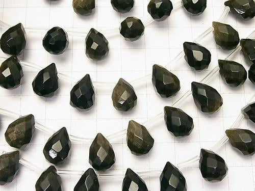 Golden Shine Obsidian Drop Faceted Briolette 14 x 10 x 10 mm half or 1 strand